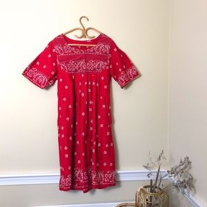 Vintage 1980s Red Bandana Print Picnic Midi Dress